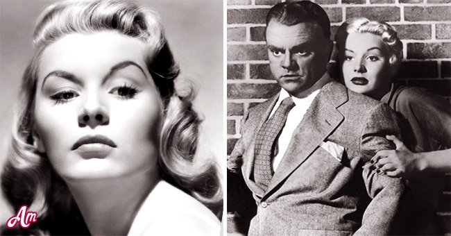 """Barbara Payton (Left) and Barbara Payton and James Cagney in """"Kiss Tomorrow Goodbye"""" (Right) 