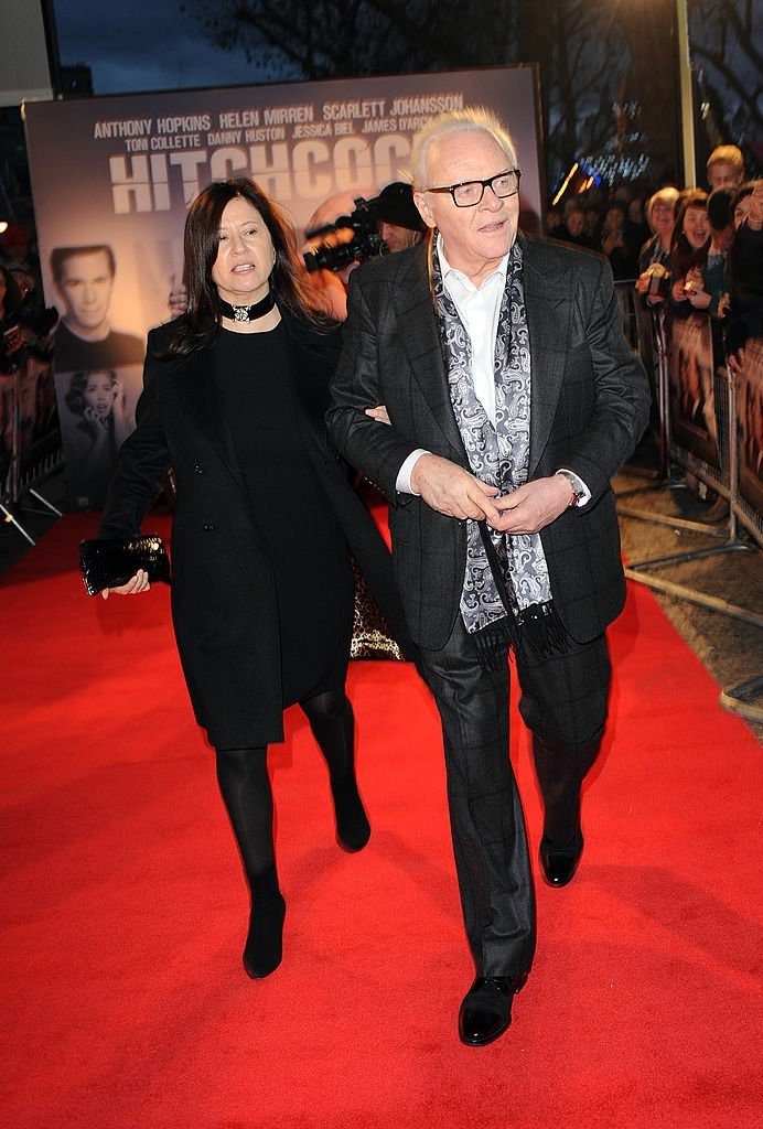 Stella Arroyave and Sir Anthony Hopkins attend the Hitchcock UK Premiere | Getty Images