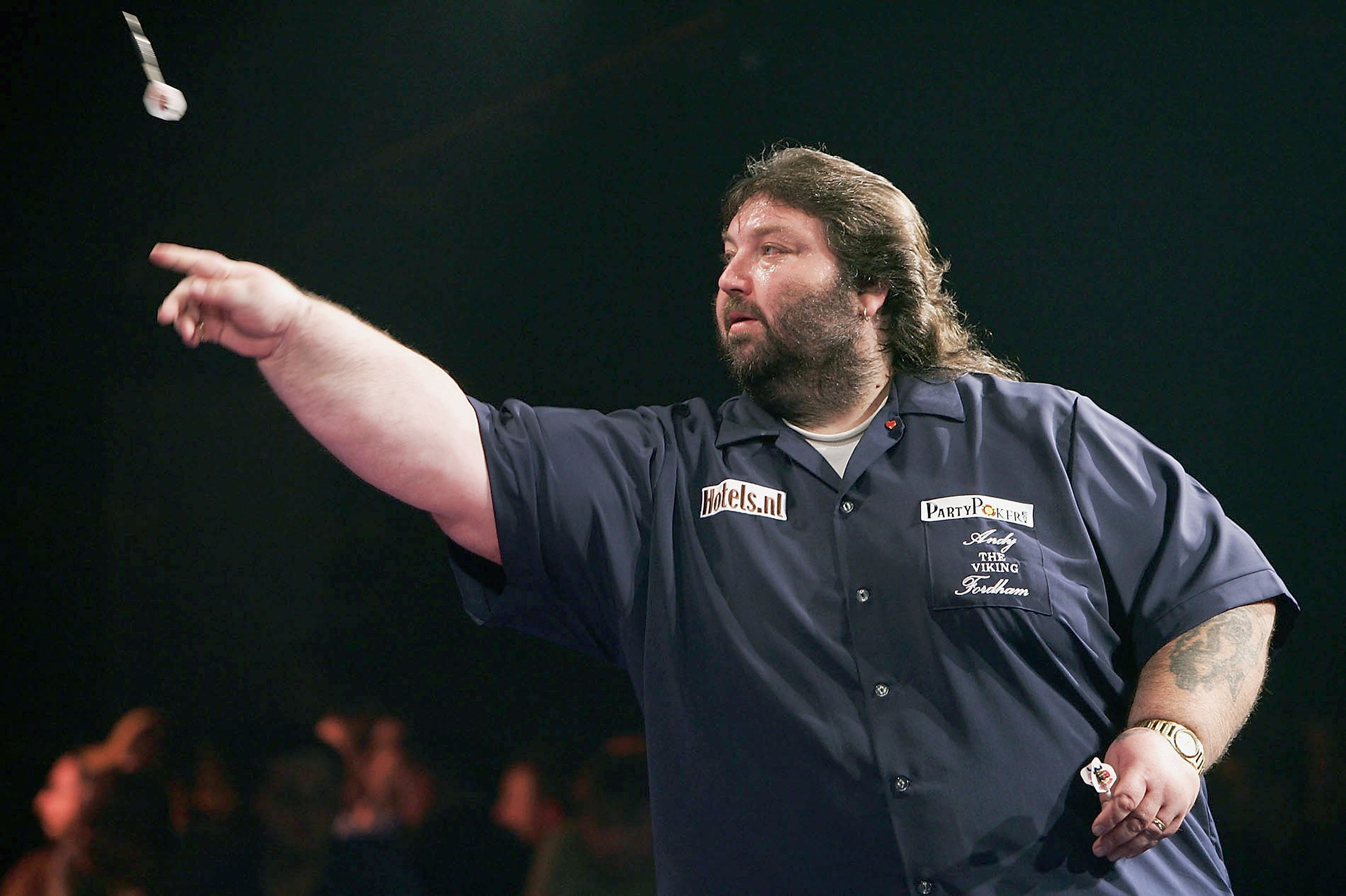 Andy Fordham in action during the Showdown match between Phil Taylor and Andy Fordham at The Circus Tavern on November 21, 2004 in Purfleet, England.   Source: Getty Images