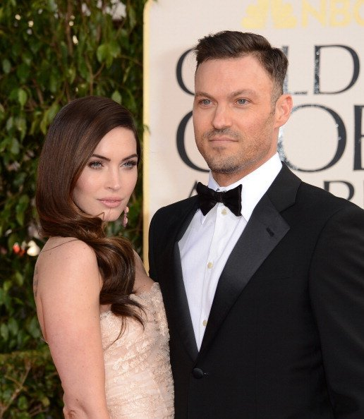 Actors Megan Fox (L) and Brian Austin Green arrive at the 70th Annual Golden Globe Awards held at The Beverly Hilton Hotel on January 13, 2013,0 in Beverly Hills, California. | Source: Getty Images.