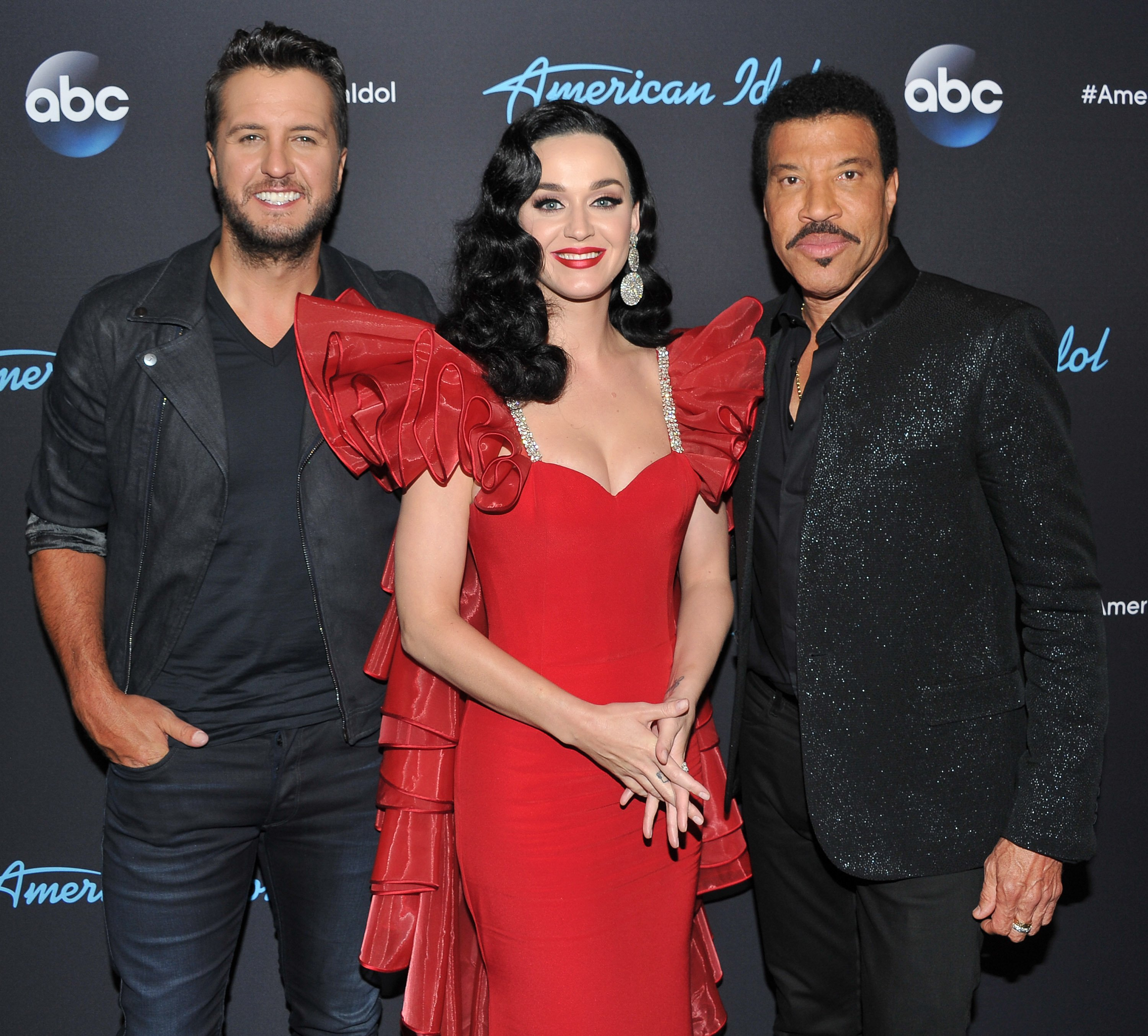 "Luke Bryan, Katy Perry and Lionel Richie arrive at ABC's ""American Idol"" show on May 6, 2018, in Los Angeles, California. 