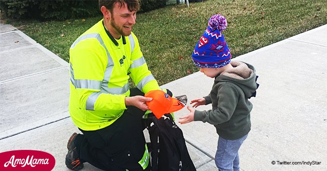 Niño enfermo de 2 años recibe una bolsa llena de regalos de recolector de basura
