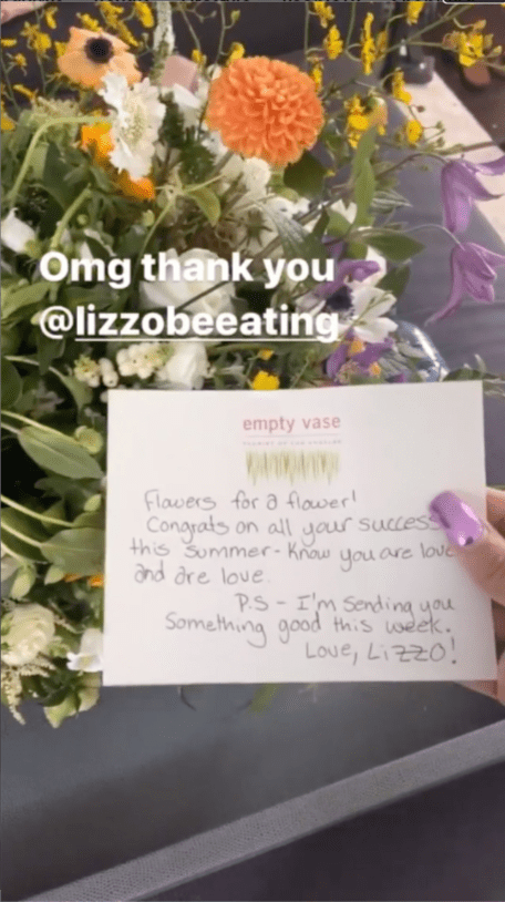 A snapshot of the handwritten note that Lizzo sent to Cardi B. | Source: Instagram/iamcardib