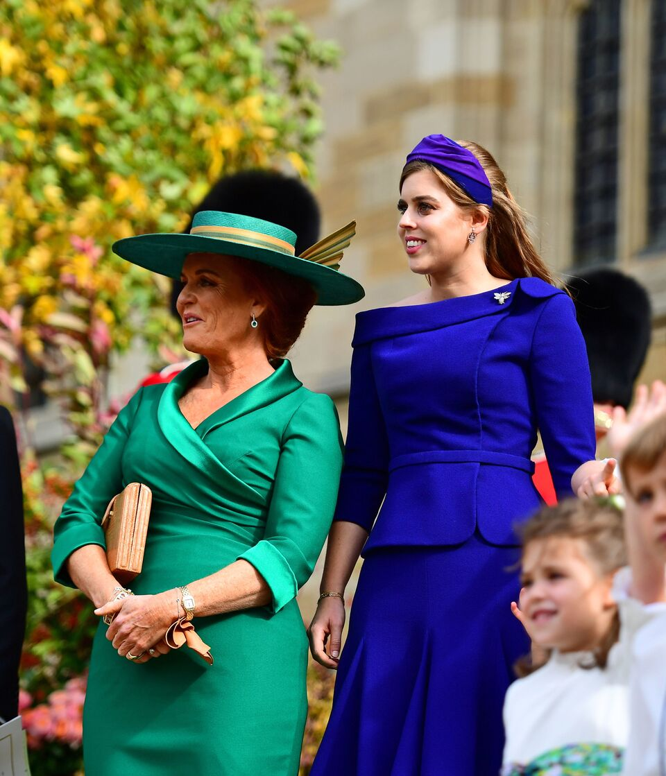 Princess Beatrice and Sarah Ferguson during the wedding of Princess Eugenie. | Source: Getty Images