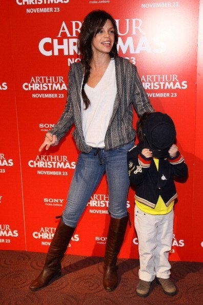 """Actress Vanessa Ferlito and her son at the """"Arthur Christmas"""" premiere on November 13, 2011 