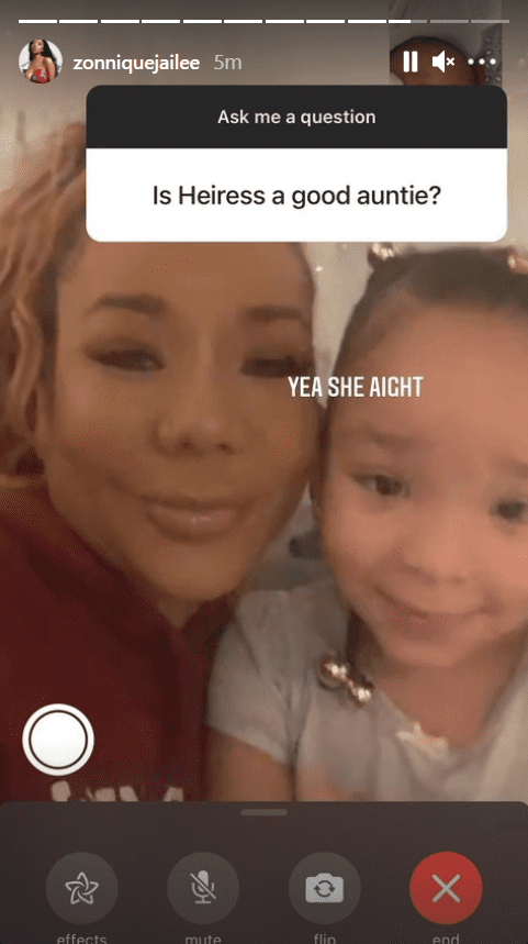 Zonnique Pullins shares a picture of her mother, Tiny Harris, and her sister, Heiress, during an Instagram Q&A session   Photo: Instagram/zonniquejailee
