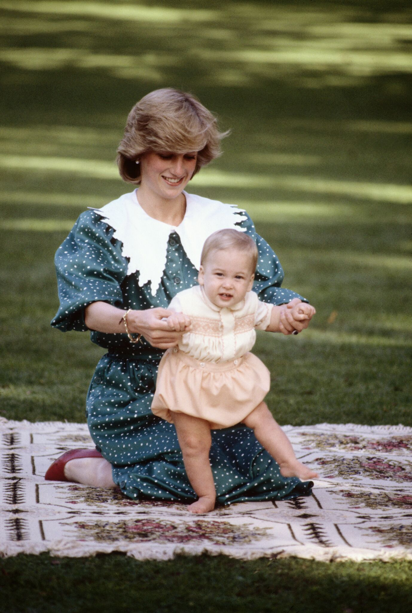 Diana Princess of Wales with Prince William on the lawn of Government House | Getty Images