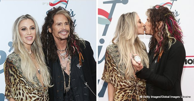 Steven Tyler Kisses His 40 Years Younger Girlfriend in Public as She Shines in a Sparkling Top