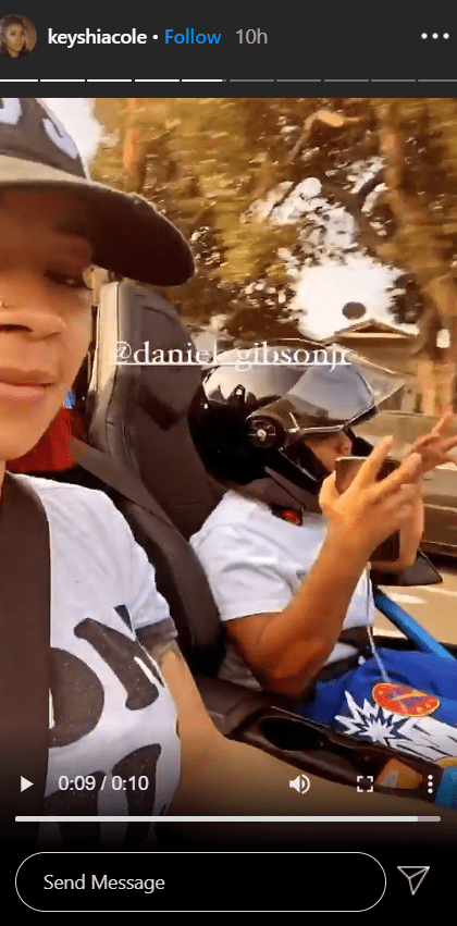 Stills from a video of Keyshia Cole and her son, Daniel Gibson Jr. together on a car ride. | Photo: Instagram/@keyshiacole