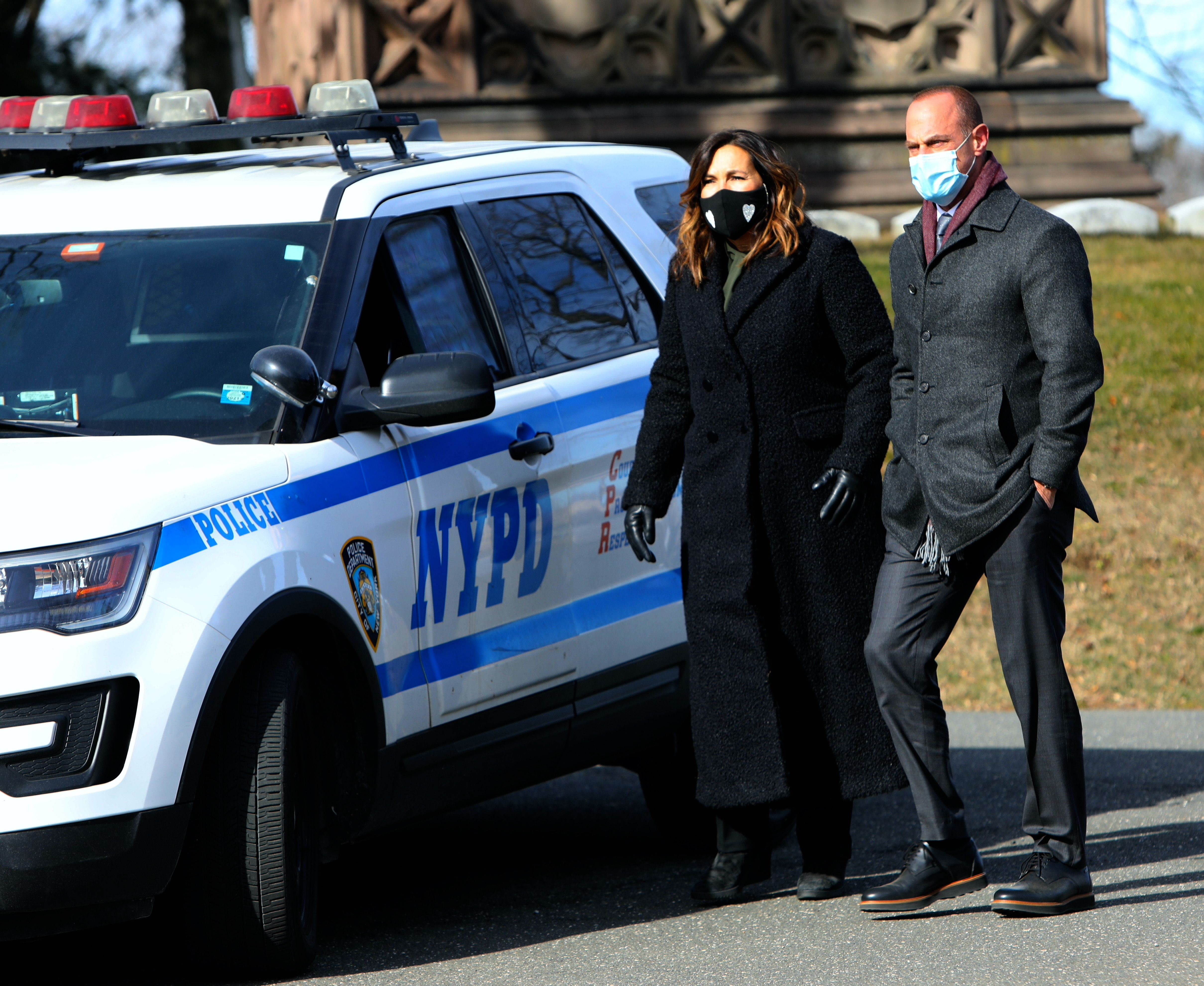 """Mariska Hargitay and Christopher Meloni together on the set of """"Law and Order: SVU"""" on January 25, 2021   Getty Images"""