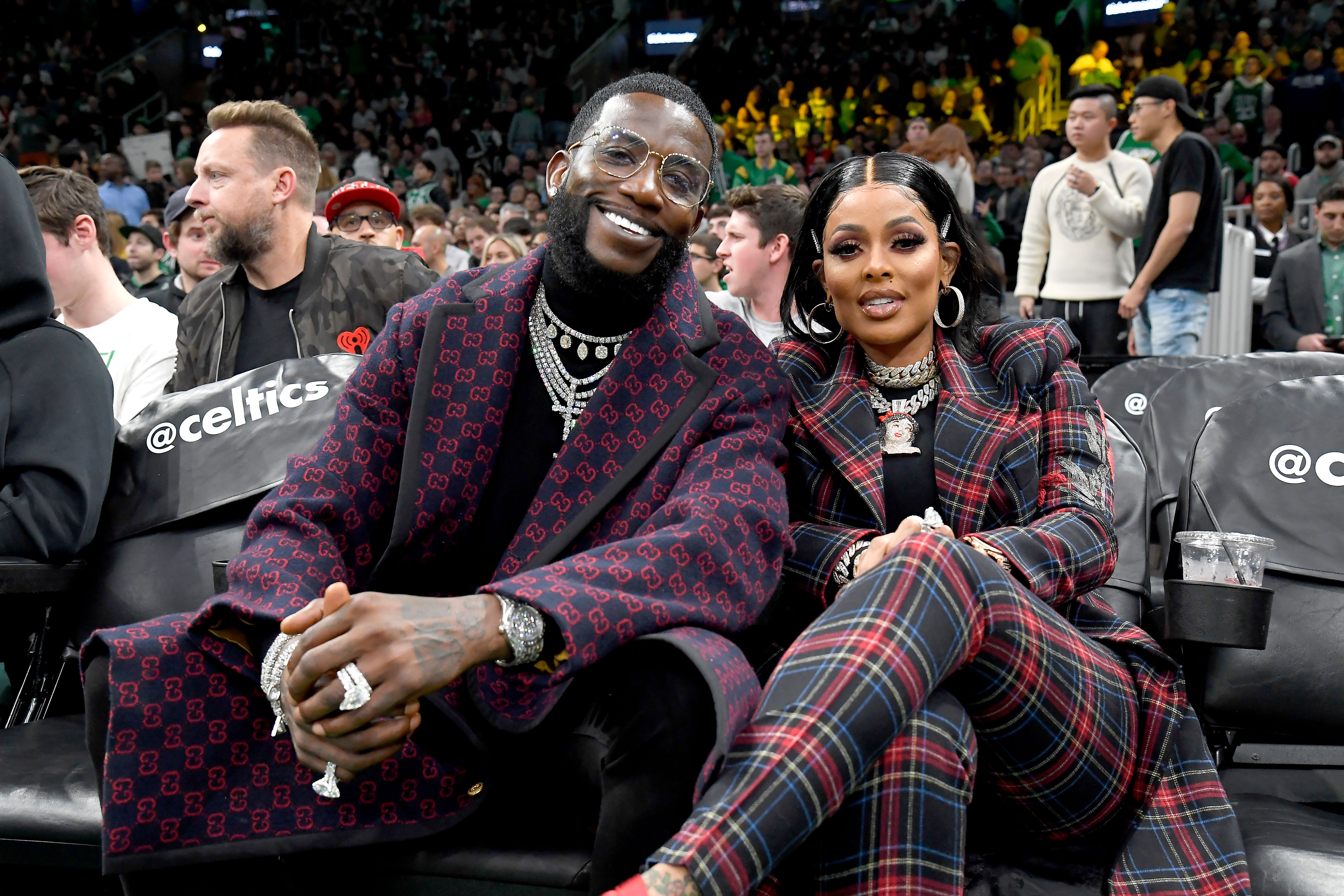 Gucci Mane and Keyshia Ka'oir at the game between the Boston Celtics and the Brooklyn Nets on November 27, 2019.   Source: Getty Images