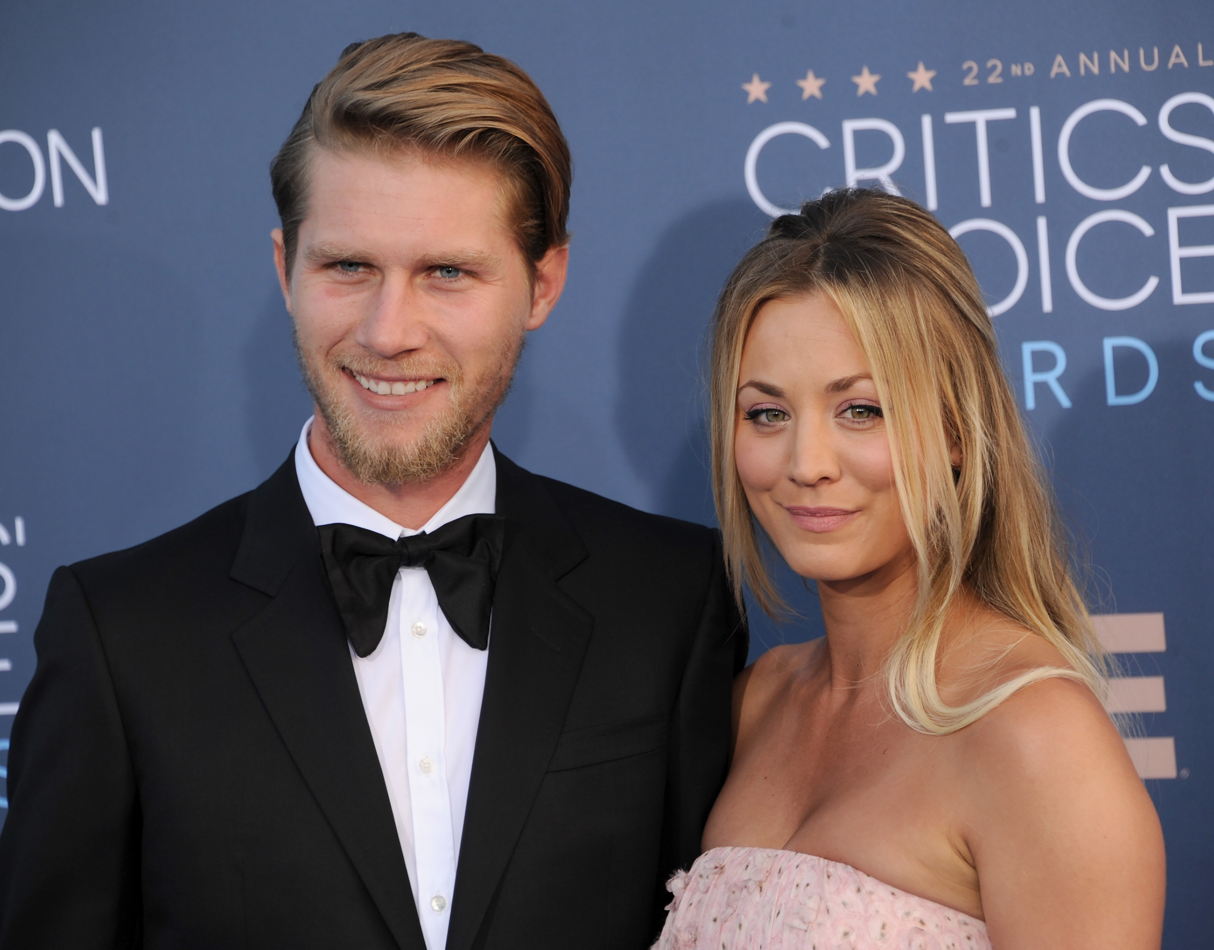 """Kaley Cuoco and her husband, Karl Cook attending the """"Critics Choice Awards"""" in Santa Barbara, in December, 2016. 