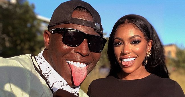 Porsha Williams Looks Pretty Posing in a Black T-Shirt & Tight Pants with Dominic Rahjee