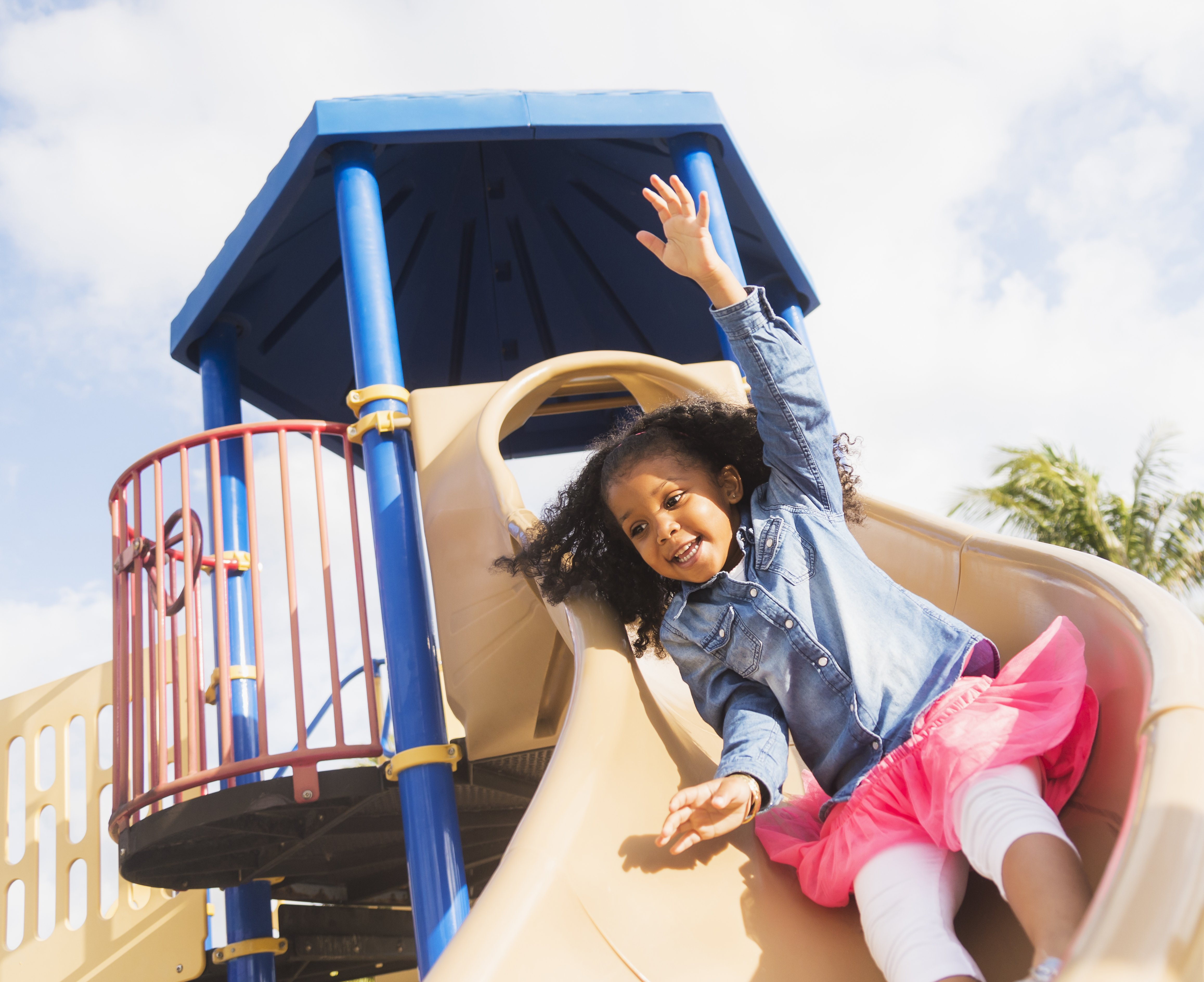 A young adorable girl playing at a playground.   Photo: Getty Images