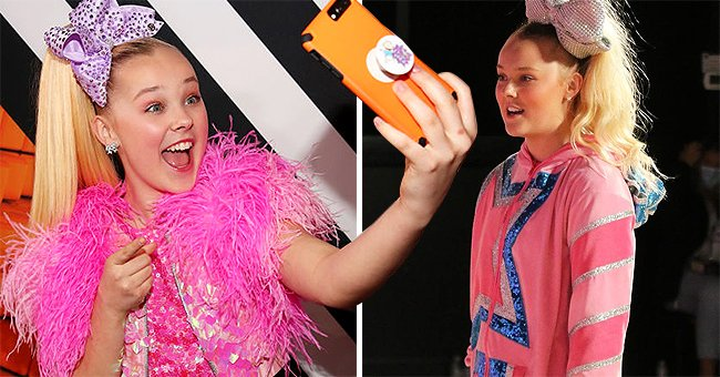 JoJo Siwa attends Nickelodeon's 2018 Kids' Choice Awards at The Forum on March 24, 2018 in Inglewood, California, and the next image show the dancer smiling wearing a pink outfit | Photo: Getty Images and Instagram/@itsjojosiwa