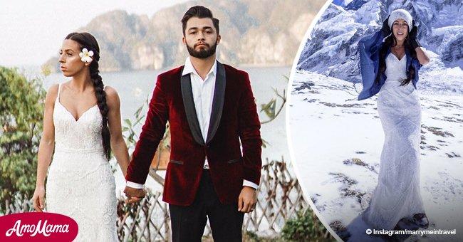 Mujer se casa y después volvió a usar el vestido de novia durante todo un año