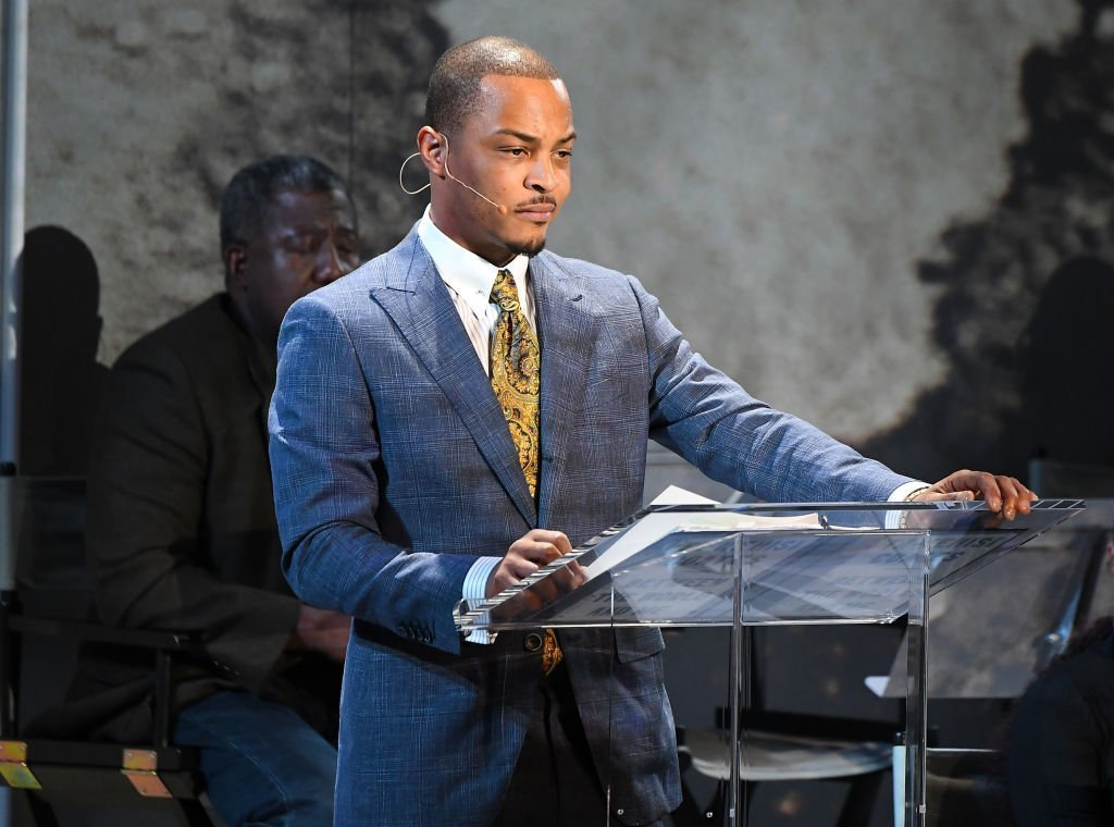 """T.I. speaks onstage during """"Between the World and Me"""" Atlanta premiere at Atlanta Symphony Hall 