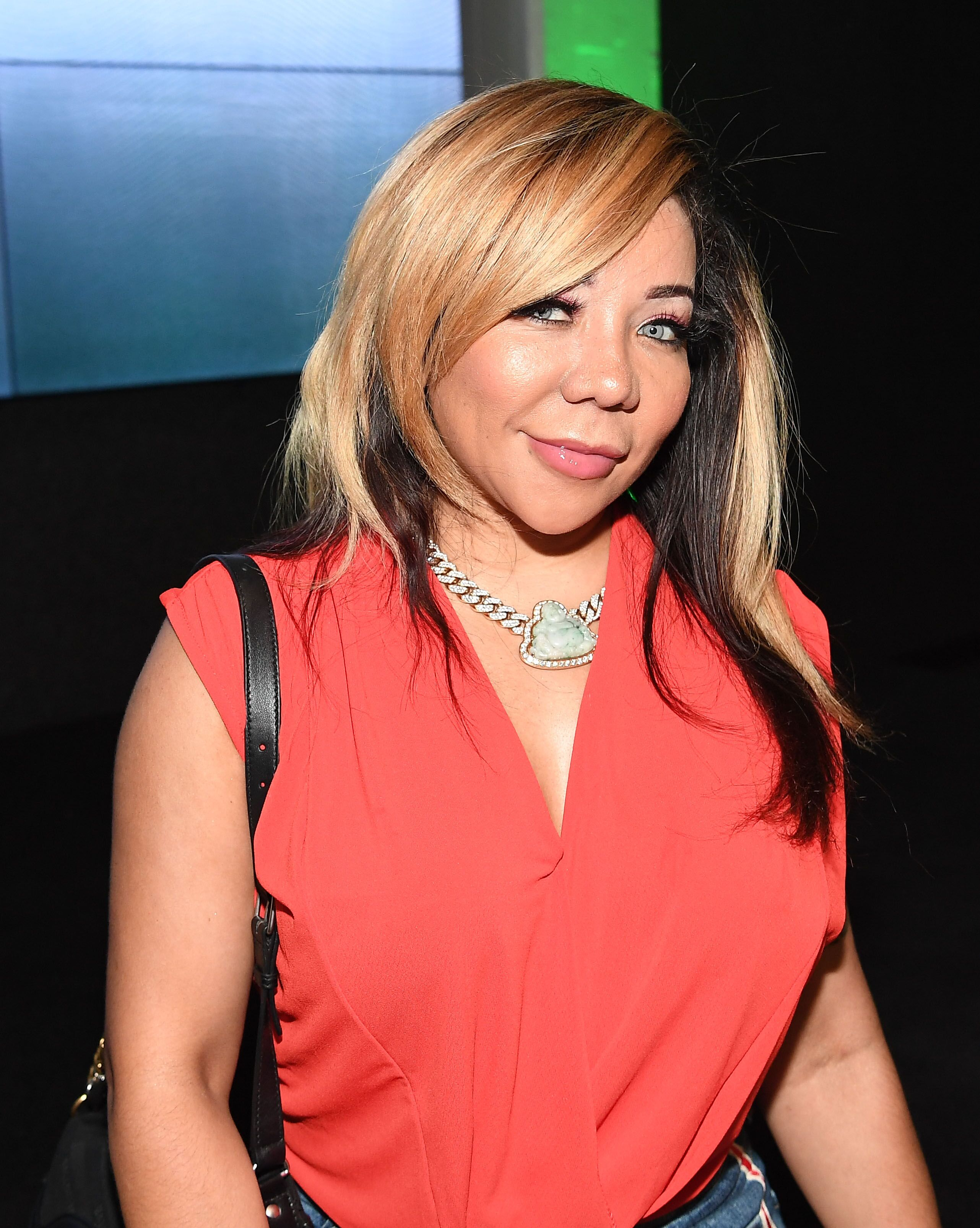 "Tameka ""Tiny"" Harris attends ""The Grand Hustle"" Exclusive Viewing Party at The Gathering Spot on July 19, 2018 in Atlanta, Georgia 