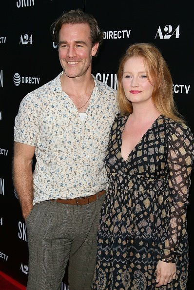"Kimberly Brook (R) and James Van Der Beek attend LA special screening of A24's ""Skin"" at ArcLight Hollywood on July 11, 2019 in Hollywood, California 