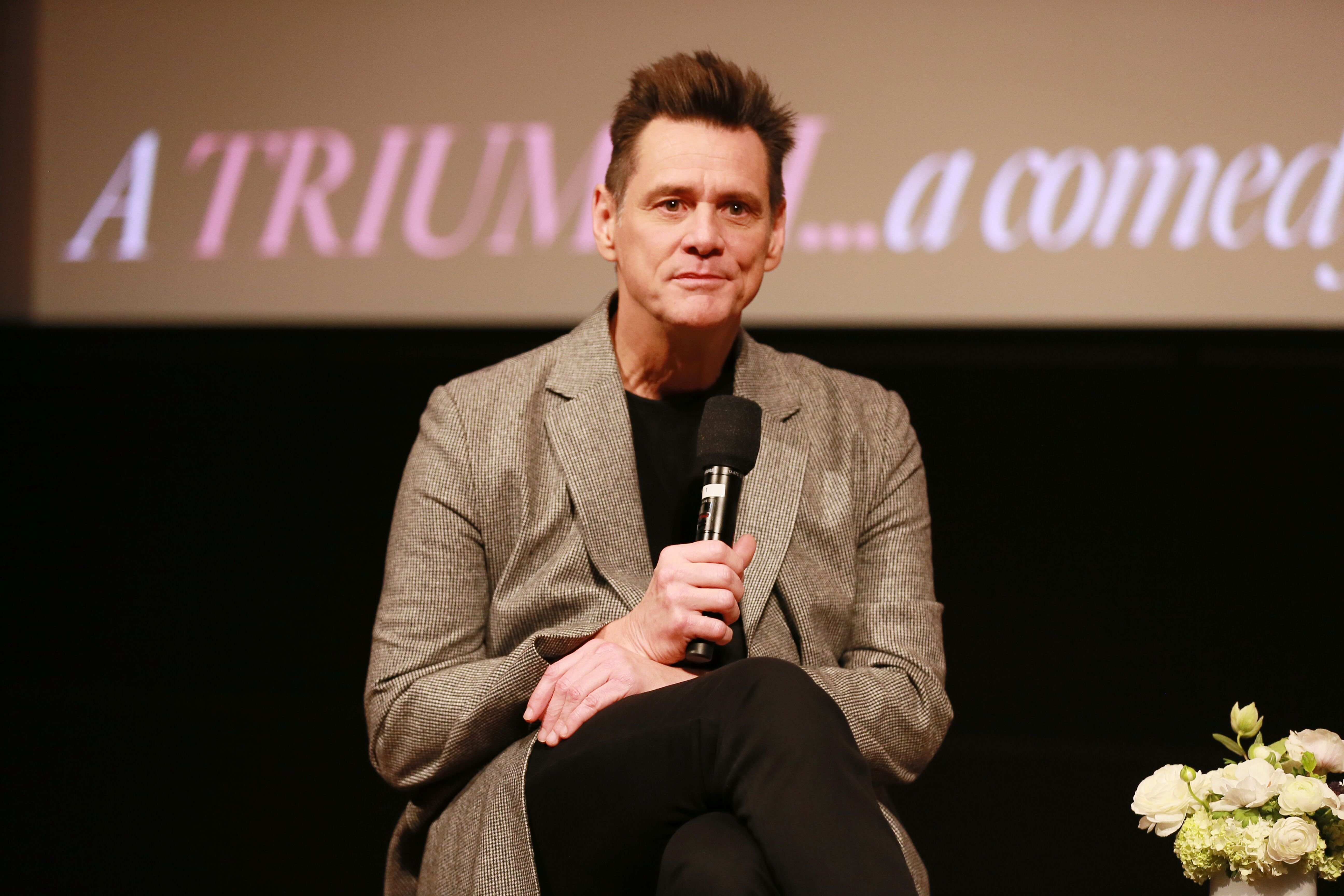 "Jim Carrey speaks on stage at the For Your Consideration Screening Of Showtime's ""Kidding."" 