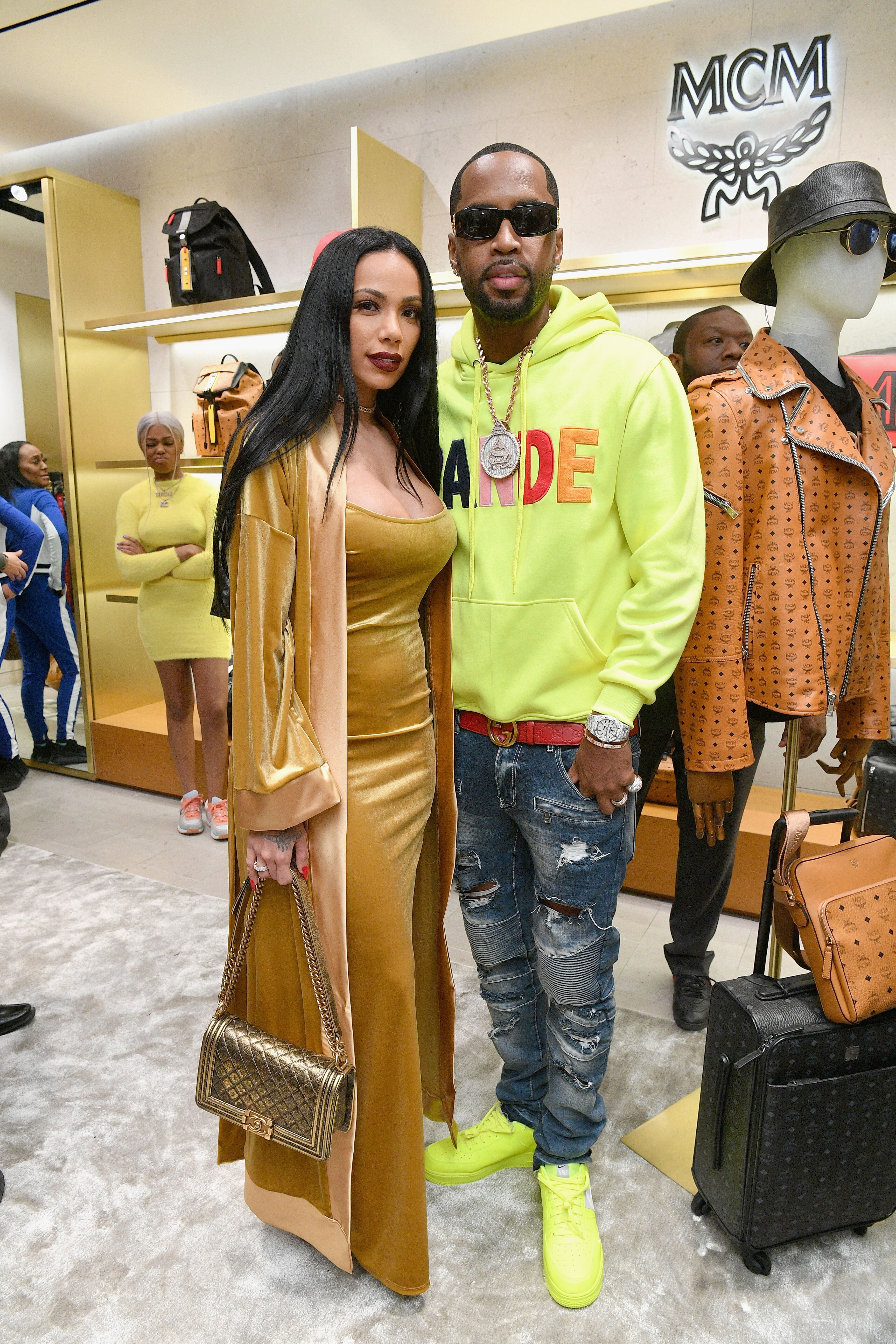 Safaree Samuels and Erica Mena out shopping at MCM/ Source: Getty Images