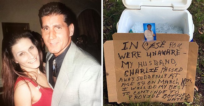 Charlie and Velvet Poveromo [left]; A cooler box left outside for workers with a sign informing them of Charlie's passing [right]. | Source: facebook.com/velvet.poveromo