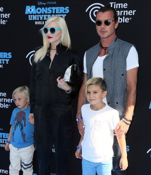 Gwen Stefani, husband recording artist Gavin Rossdale and their children Zuma Nesta Rock Rossdale (L) and Kingston James McGregor Rossdale at the El Capitan Theatre on June 17, 2013 | Photo: Getty Images
