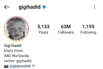 A picture of Gigi Hadid's Instagram bio showing her daughter's name, Khai. | Photo: Instagram/Gigihadid