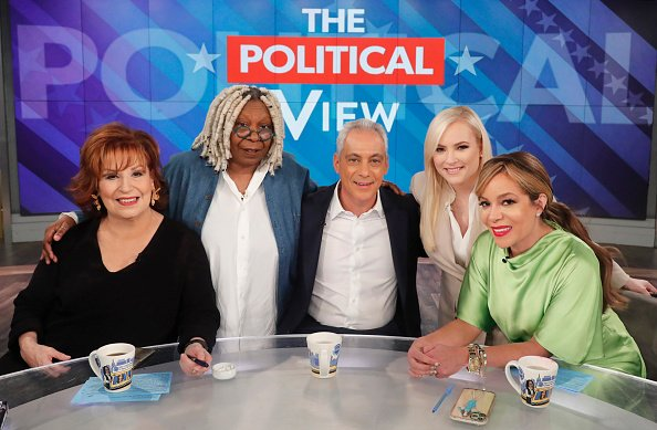 "Joy Behar, Whoopi Goldberg, Rahm Emanuel, Meghan McCain, and Sunny Hostin on February 24, 2020 on ABC's ""The View."" 