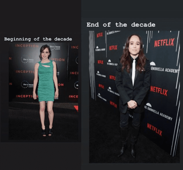 Ellen Page shows how her dress style changed after she came out as gay.   Source: Instagram/ellenpage.