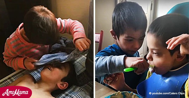 Boy with Down's syndrome feeds, dresses, and takes care of his disabled siblings
