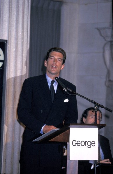 John F. Kennedy Jr. at the Press Conference for 'George' Magazine, Federal Hall, New York City, NY, in 1995. | Photo: Getty Images
