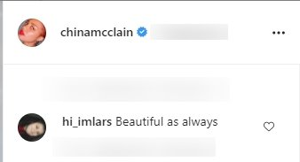 Fan's comment under a picture posted by China McClain on her Instagram page | Photo: Instagram/chinamcclain