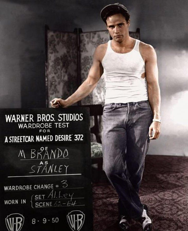 "Marlon Brando on the set of ""A Streetcar Named Desire"" in 1951 