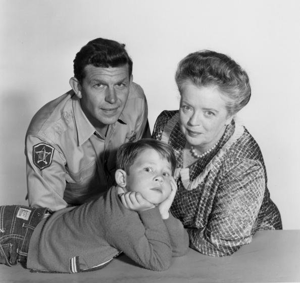 "Andy Griffith (as Andy Taylor), Ron Howard (as Opie Taylor), and Frances Bavier (as Aunt Bee Taylor) on ""The Andy Griffith Show."" Image dated August 27, 1960. 