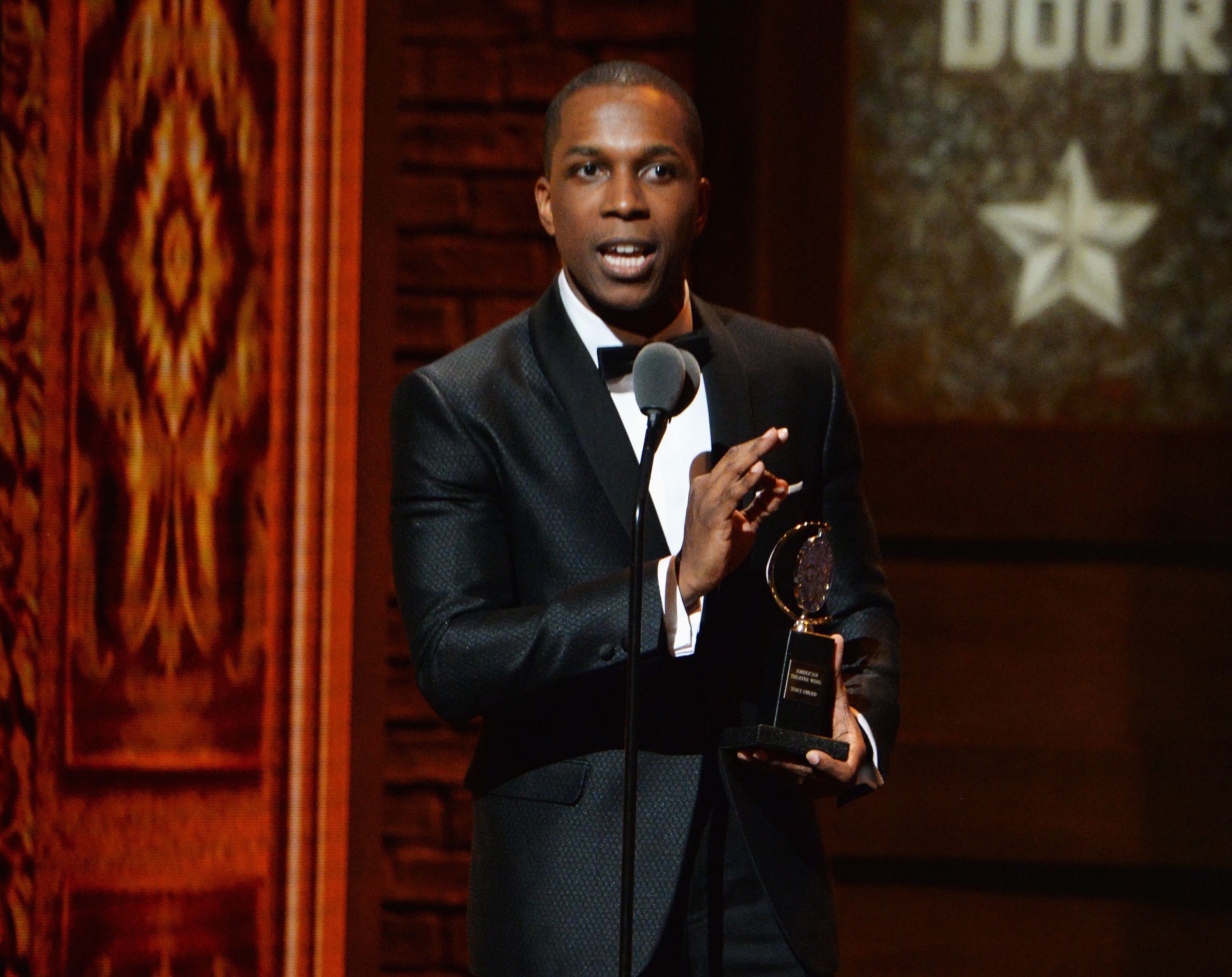 "Leslie Odom Jr. during the awarding for Best Performance by an Actor in a Leading Role in a Musical in ""Hamilton"" onstage during the 70th Annual Tony Awards at The Beacon Theatre on June 12, 2016 in New York City. 