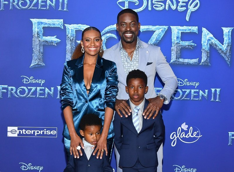 Ryan Michelle Bathe and Sterling K. Brown with their sons on November 7, 2019 in Hollywood, California. | Source: Getty Images