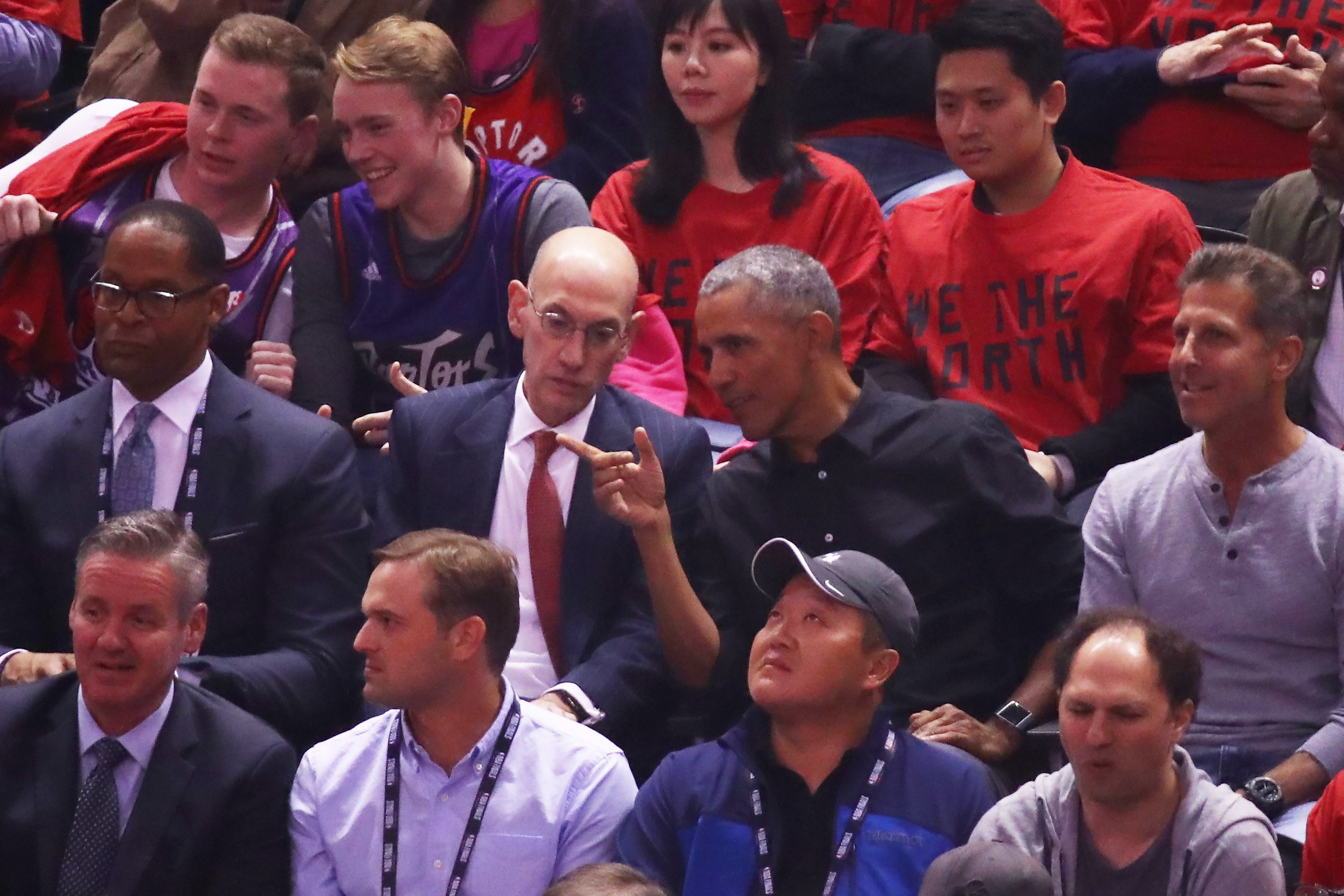 Barack Obama sitting next to NBA Commissioner Adam Silver during Game Two of the 2019 NBA Finals at Scotiabank Arena in Toronto, Canada | Photo: Getty Images