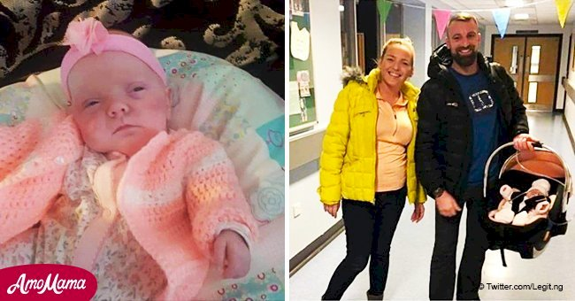 Une fille née avec la taille d'une barre de chocolat a célébré son premier Noël à la maison