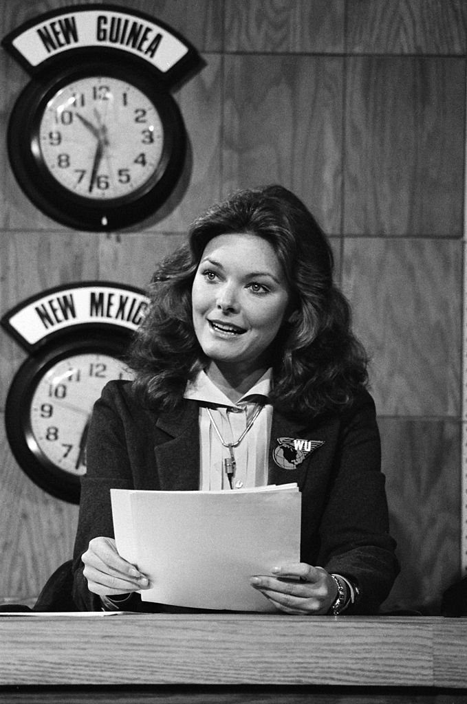"Jane Curtin during the 'Weekend Update' skit on ""Saturday Night Live"" on October 20, 1979 