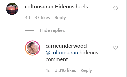 Carrie Underwood claps back at fan on March 6, 2020 | Photo: Instagram/carrieunderwood