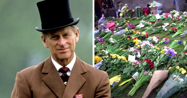 Mourners Place Floral Tributes outside of Buckingham Palace in Honor of Prince Philip