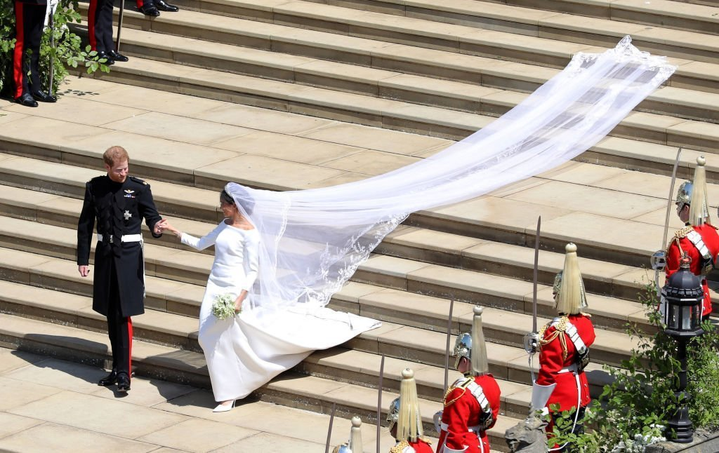 Meghan Markle and Prince Harry leaving the church after their wedding | Getty Images / Global Images Ukraine