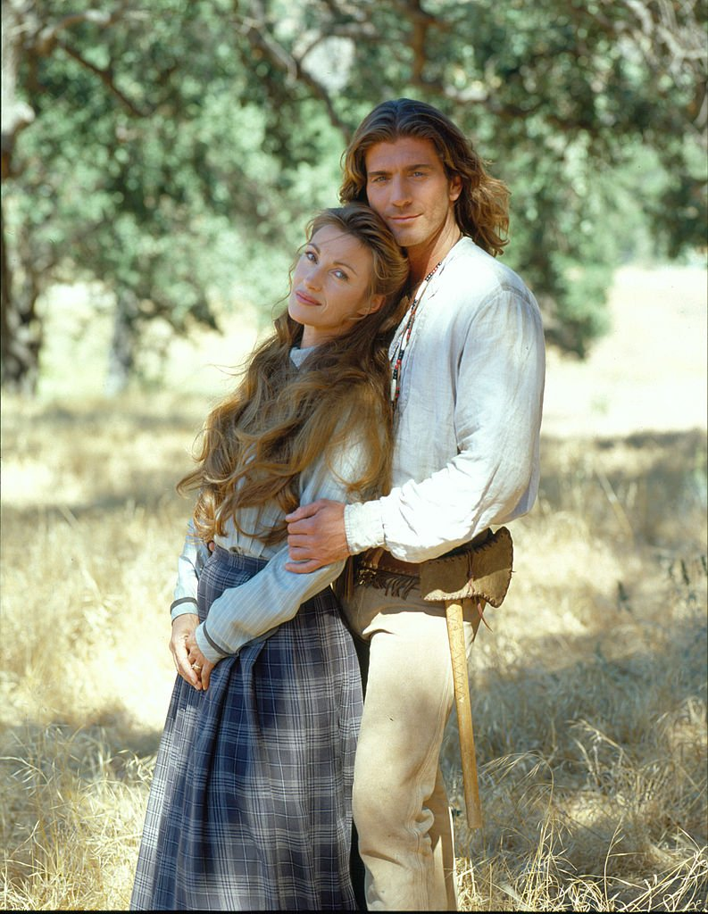 """Promotional portrait of Jane Seymour as Dr. Michaela 'Mike' Quinn, and Joe Lando, as Byron Sully, in the television series """"Dr. Quinn, Medicine Woman,"""" in June 1996   Photo: Getty Images"""