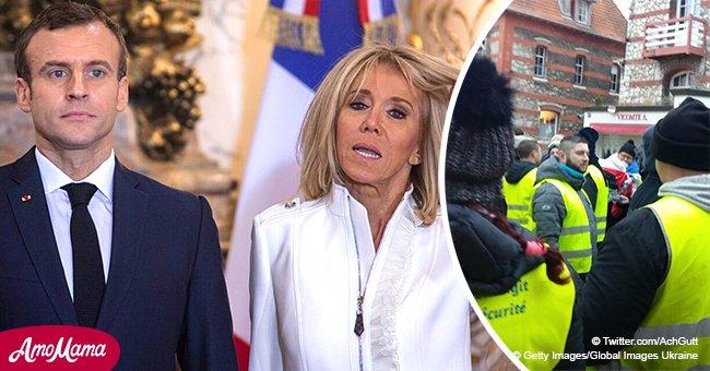 Le Touquet: Des photos impressionnantes de 200 'gilets jaunes' rassemblés devant la villa Macron