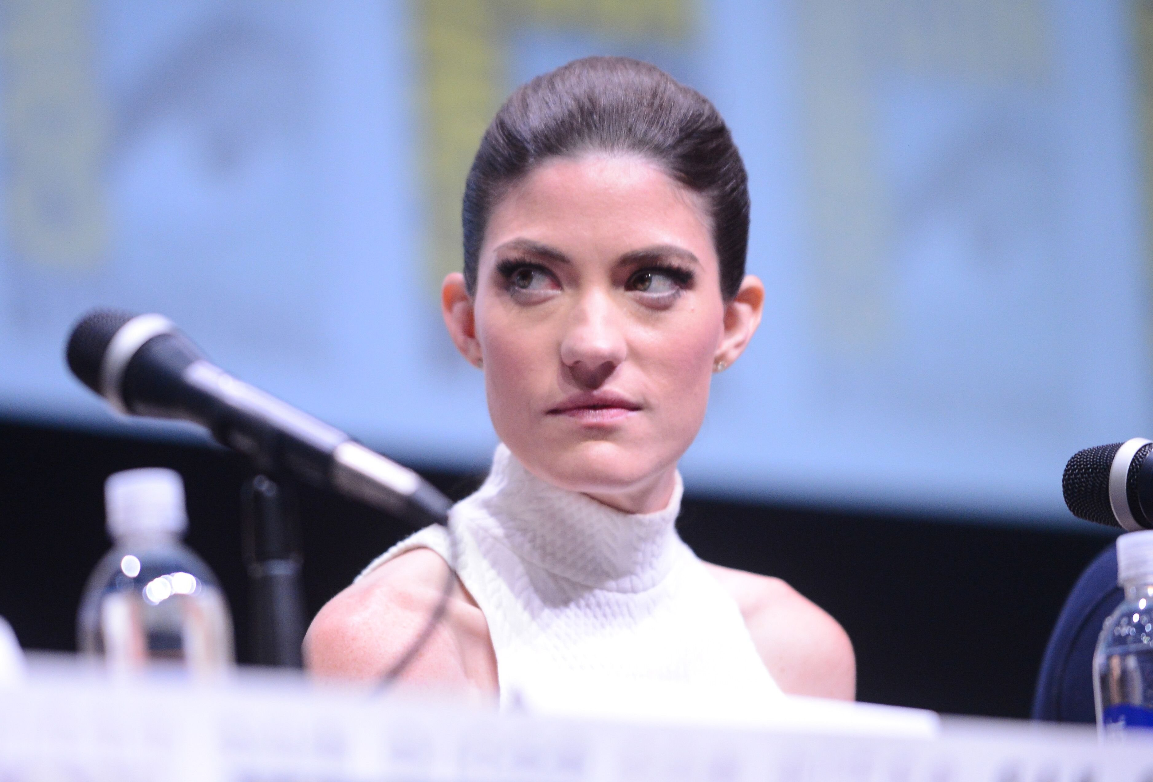 "Jennifer Carpenter speaks onstage at Showtime's ""Dexter"" panel during Comic-Con International 2013 at San Diego Convention Center on July 18, 2013 in San Diego, California. 