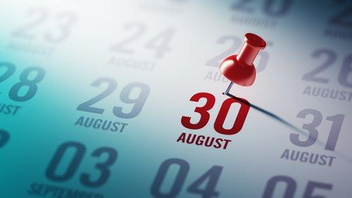 30 de agosto marcado en un calendario. | Fuente: Shutterstock