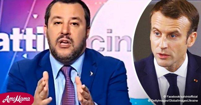 """Le ministre Matteo Salvini dénonce Emmanuel Macron, en le qualifiant de """"très mauvais président"""""""