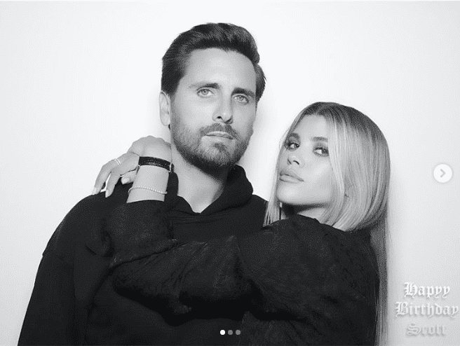 Scott Disick and Sofia Richie posing together during Scott's birthday party | Source: Instagram/sofiarichie