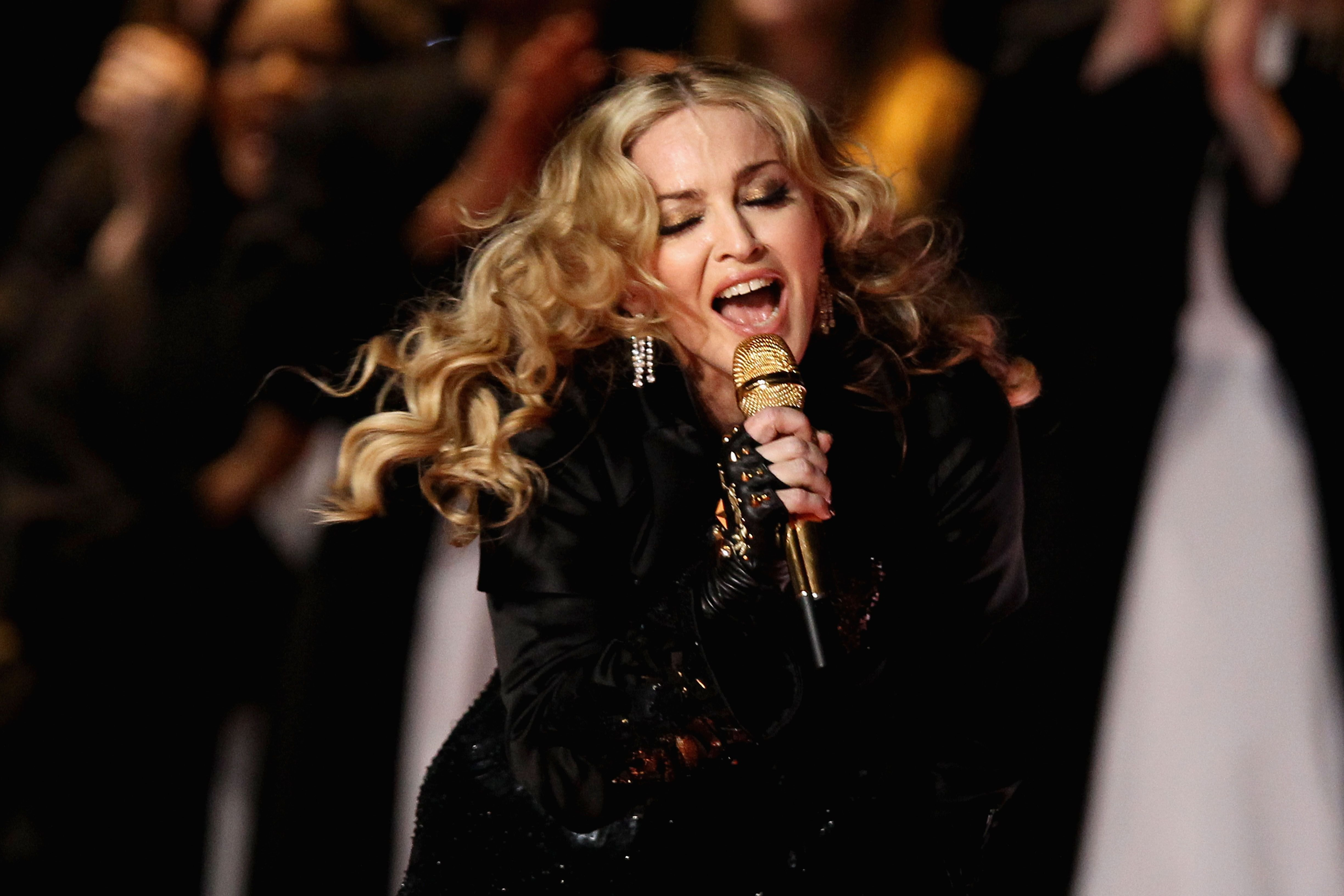 Madonna at the Bridgestone Super Bowl XLVI Halftime Show at Lucas Oil Stadium on February 5, 2012 in Indianapolis, Indiana | Photo: Getty Images